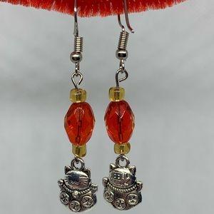 Jewelry - Lucky cat dangle hook earrings